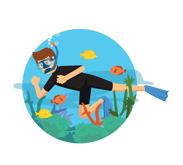 Jeune homme plongeant en costume noir Vecteur Premium