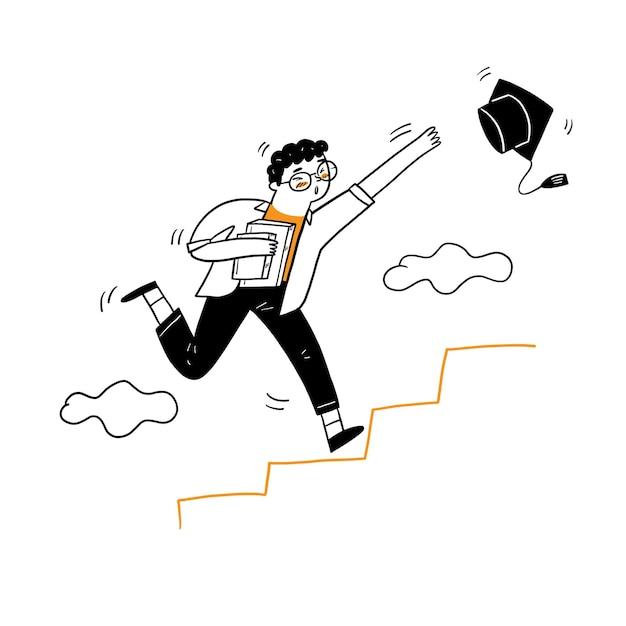 Le Jeune Homme Qui Court Jusqu'à L'escalier Pour Saisir Le Bonnet De Graduation, Style De Dessin Animé Vector Illustration Vecteur gratuit