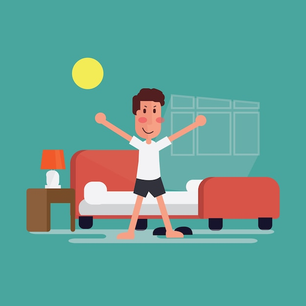 un jeune homme qui se l ve confortablement le matin. Black Bedroom Furniture Sets. Home Design Ideas
