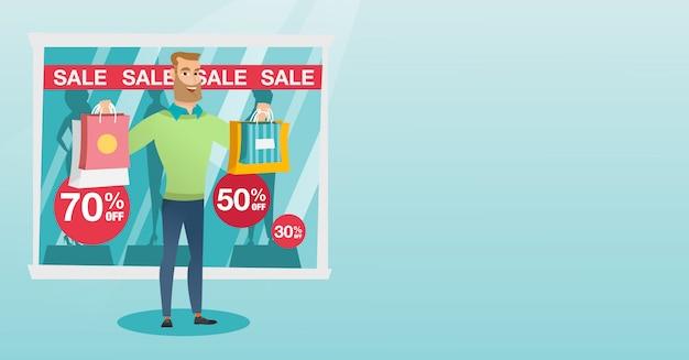 Jeune homme de race blanche shopping en vente. Vecteur Premium
