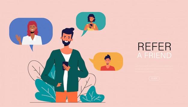 Le Jeune Homme A Référé Un Ami Avec Un Smartphone. Vecteur Premium