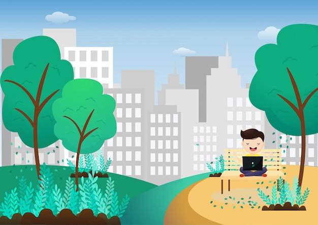 Jeune homme se détend après avoir travaillé sur un ordinateur portable assis dans une posture de lotus à l'extérieur. pigiste médite assis sur la balançoire. vecteur, illustration Vecteur Premium