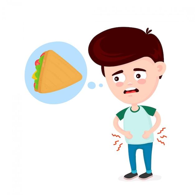 Jeune homme souffrant parce qu'il a faim Vecteur Premium