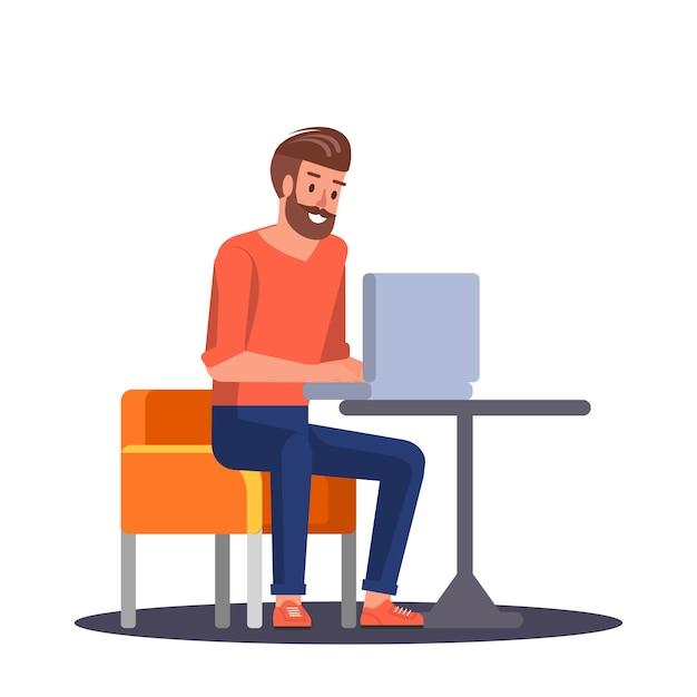 Jeune homme travaillant dans un ordinateur portable Vecteur Premium