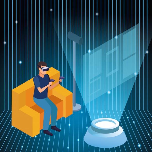Jeune homme utilisant la technologie de réalité virtuelle Vecteur gratuit