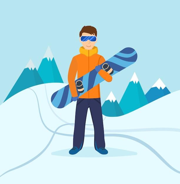 Jeune Homme En Vêtements D'hiver Et Lunettes De Soleil, Debout Sur La Pente De La Montagne, Tenant Dans Les Mains D'un Snowboard Vecteur Premium