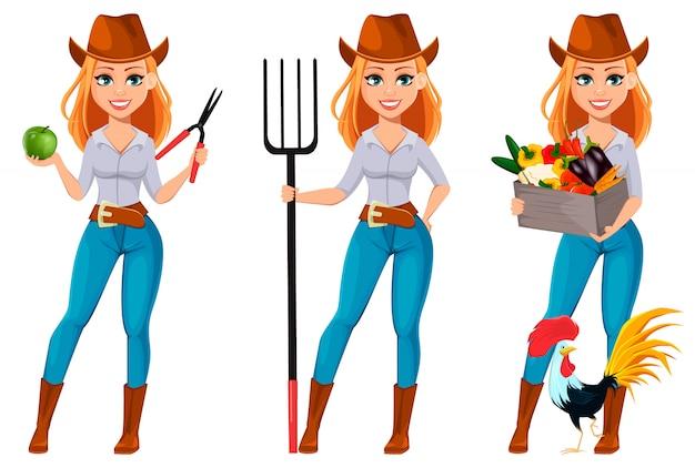 Jeune jolie fermière au chapeau de cowboy Vecteur Premium