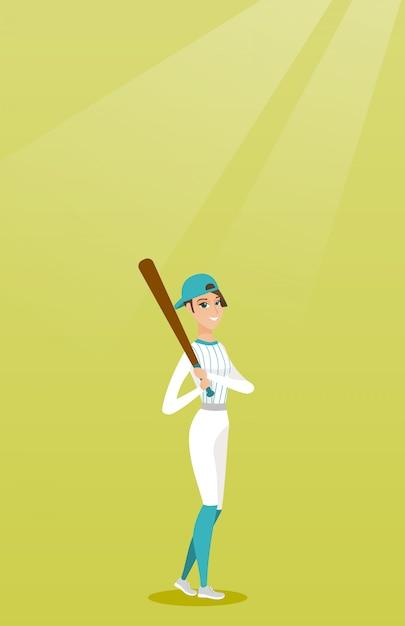 Jeune joueur de baseball caucasien avec une batte. Vecteur Premium