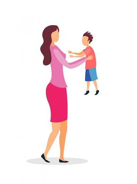 Jeune Maman Tenant Un Appartement De Bébé Vecteur Premium