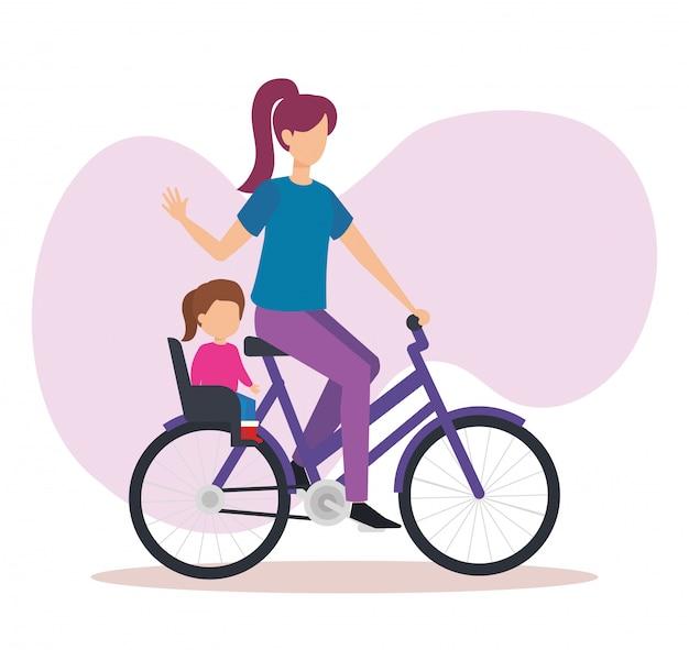 Jeune maman en vélo avec sa fille Vecteur gratuit