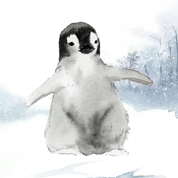 Jeune manchot empereur dans le vecteur aquarelle neige Vecteur gratuit