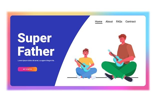 Jeune Père Enseignant Petit Fils à Jouer De La Guitare Concept De Paternité Parentale Papa Passer Du Temps Avec Son Enfant Horizontal Pleine Longueur Vecteur Premium