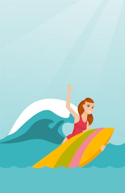 Jeune surfeur caucasien en action sur une planche de surf Vecteur Premium