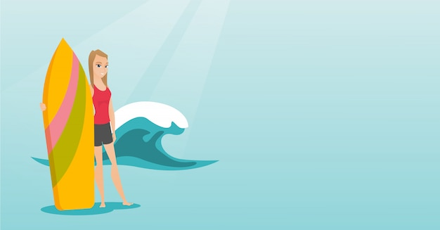 Jeune surfeur caucasien tenant une planche de surf. Vecteur Premium