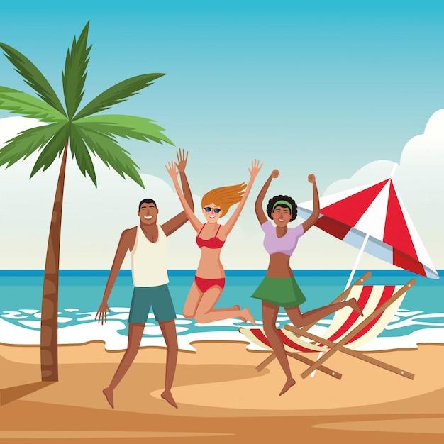 Jeunes amis et dessins animés de l'été Vecteur gratuit