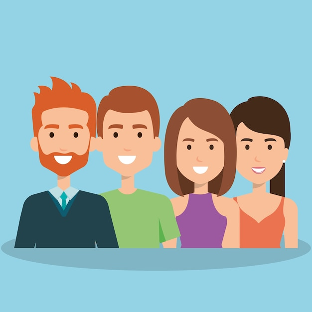 Jeunes avatars du groupe Vecteur Premium