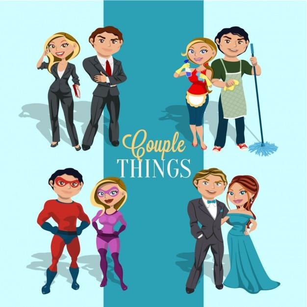 Les jeunes couples dans le style bande dessinée Vecteur gratuit