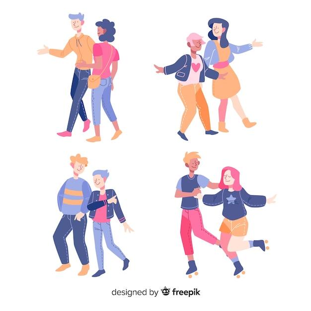 Jeunes couples marchant ensemble design plat Vecteur gratuit