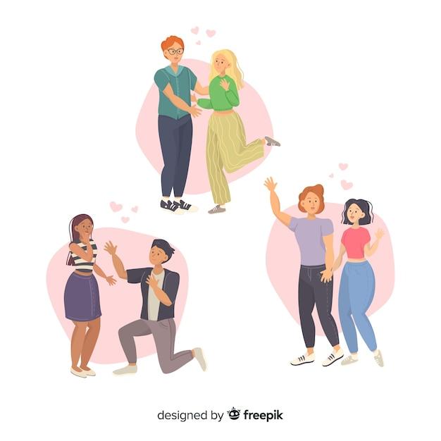 Jeunes couples marchant ensemble Vecteur gratuit