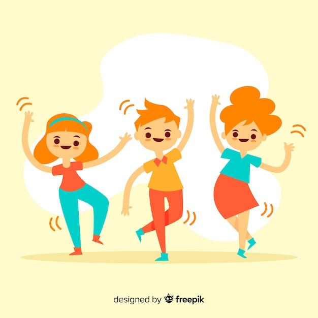 Les jeunes dansent. conception de personnages Vecteur gratuit