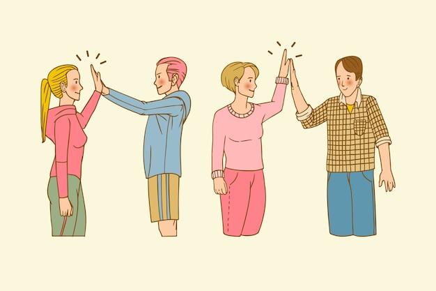 Jeunes dessinés à la main donnant cinq collection haute Vecteur gratuit