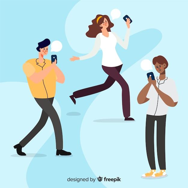 Jeunes dessinés à la main tenant des smartphones Vecteur gratuit