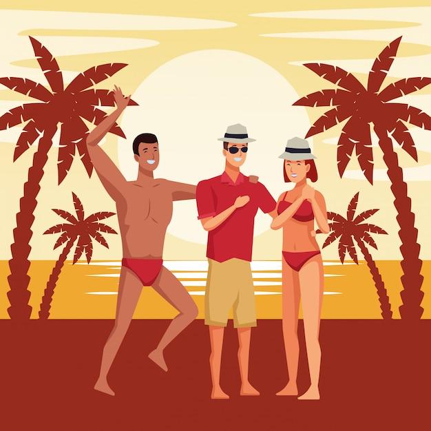 Les jeunes et les dessins animés de l'été Vecteur gratuit