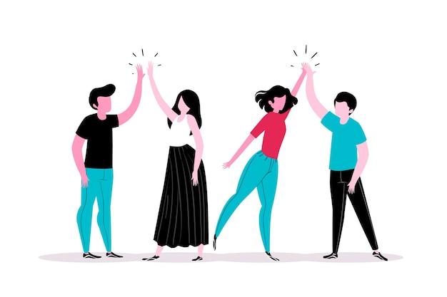 Jeunes, Donner, élevé, Cinq, Concept Vecteur gratuit