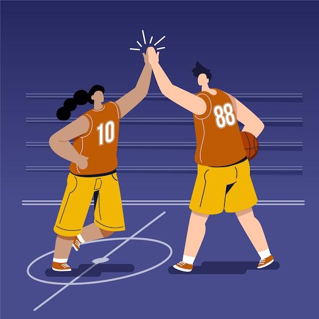 Jeunes, donner, haut, cinq, basket-ball, champ Vecteur gratuit