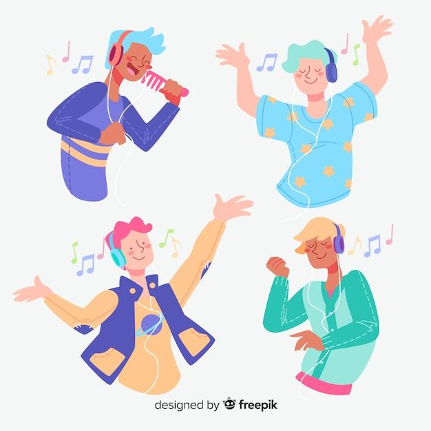 Jeunes écoutant de la musique design plat Vecteur gratuit