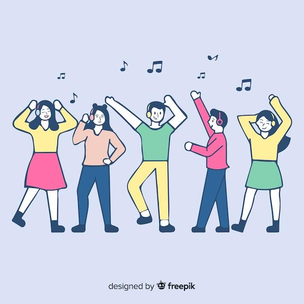 Jeunes écoutant de la musique en style de dessin coréen Vecteur gratuit