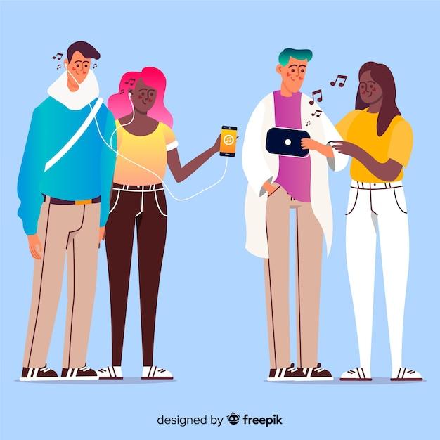Jeunes écoutant de la musique Vecteur gratuit