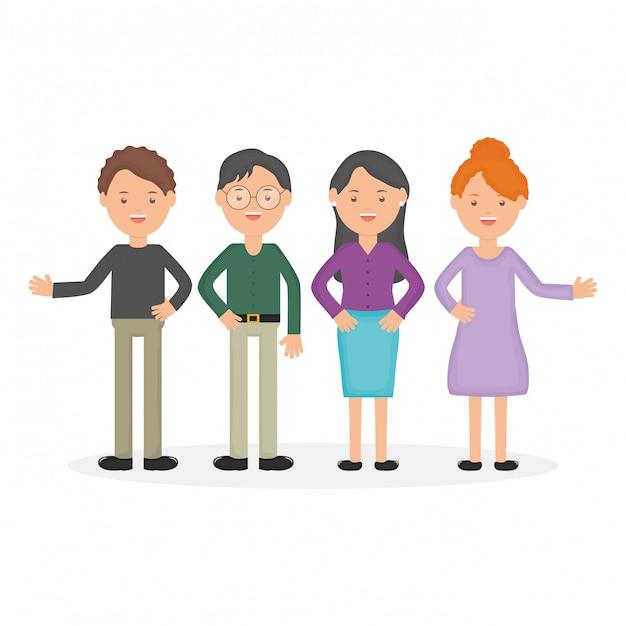 Jeunes éducateurs en groupe Vecteur gratuit
