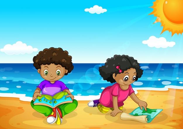 Jeunes enfants africains à la plage Vecteur Premium