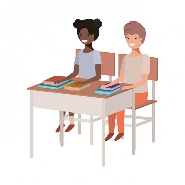 Jeunes étudiants assis au banc d'école Vecteur Premium