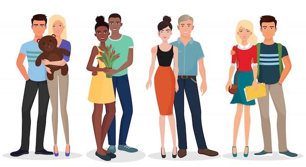 Jeunes étudiants couples Vecteur Premium