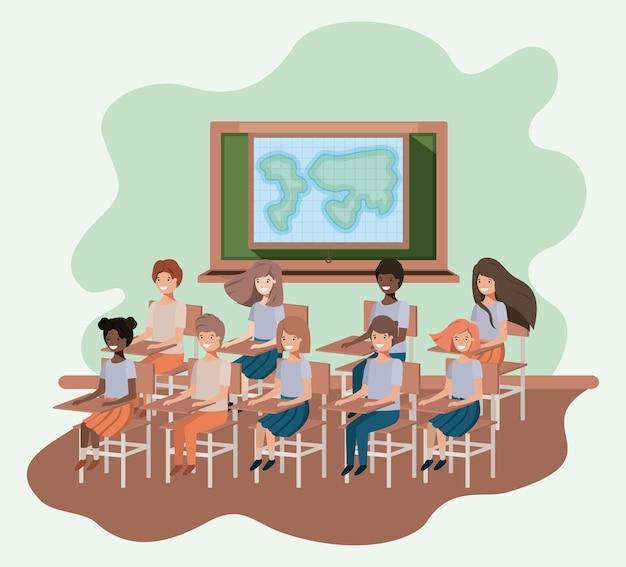 Jeunes étudiants en géographie en classe vector illustration design Vecteur Premium