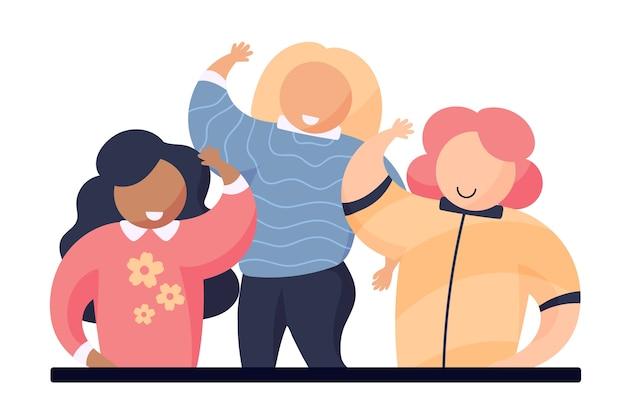 Jeunes femmes agitant la main Vecteur gratuit