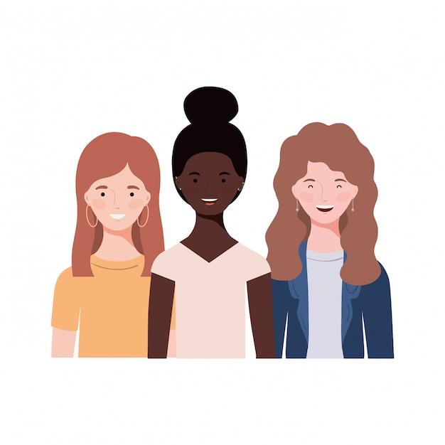 Jeunes femmes sur blanc Vecteur Premium