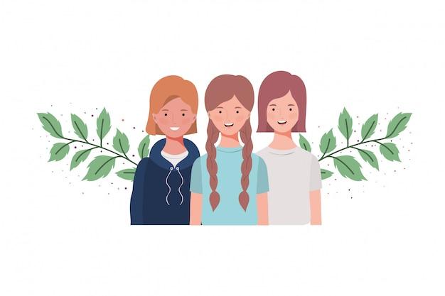 Jeunes femmes avec des branches et des feuilles Vecteur Premium