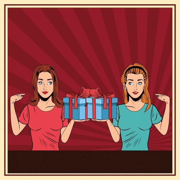 Jeunes femmes avec un coffret cadeau pop art Vecteur gratuit