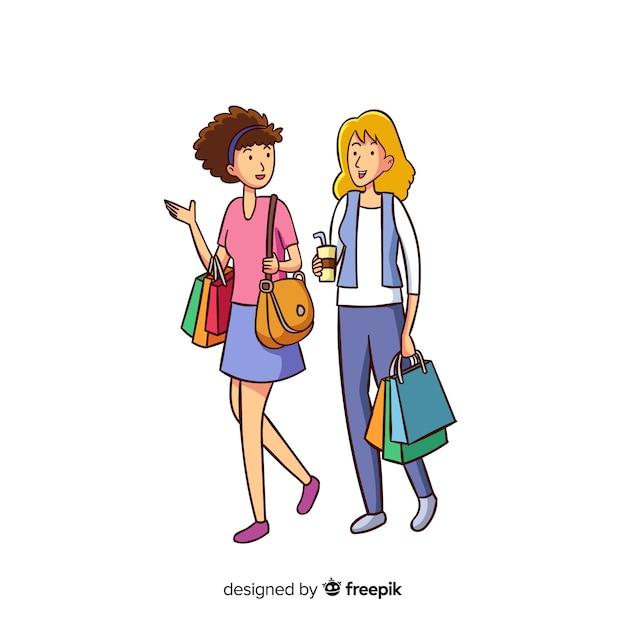 Jeunes femmes faire du shopping Vecteur gratuit