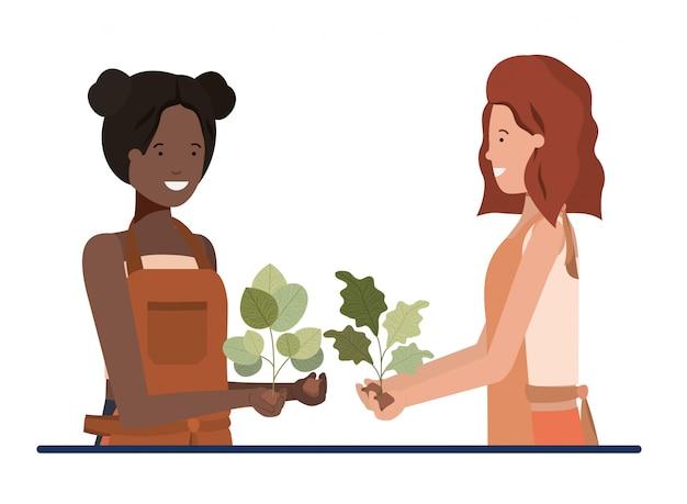 Jeunes femmes jardiniers souriant personnage avatar Vecteur Premium