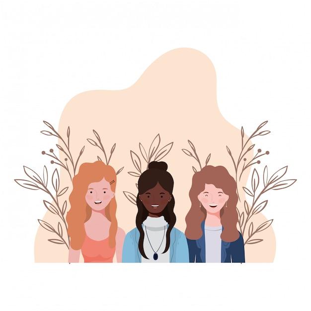 Jeunes femmes avec paysage Vecteur Premium
