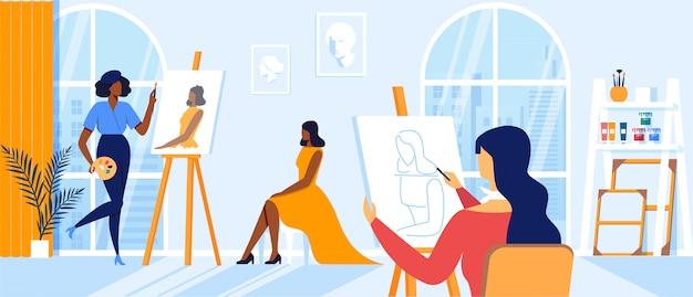 Jeunes Femmes Peignant Modèle Fille Assise Sur Une Chaise Posant Pour Un Atelier De Création Dans Une Grande Salle De Classe. Personnages D'artistes Dessinant Sur Toile Au Chevalet Pendant Art Class Hobby Vecteur Premium