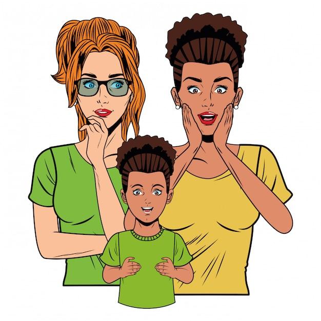 Jeunes femmes et petite fille Vecteur Premium