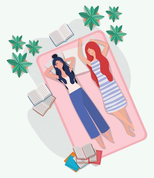 Jeunes femmes se détendre dans un matelas dans la chambre Vecteur gratuit