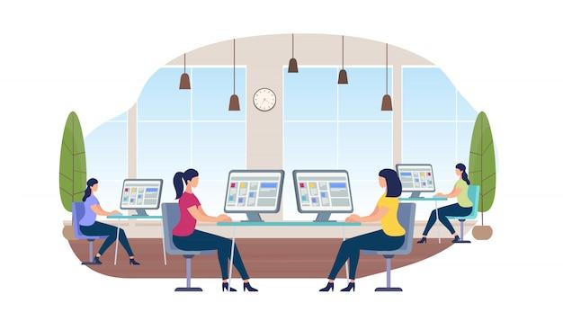 Jeunes femmes travaillant sur des ordinateurs assis au bureau Vecteur Premium