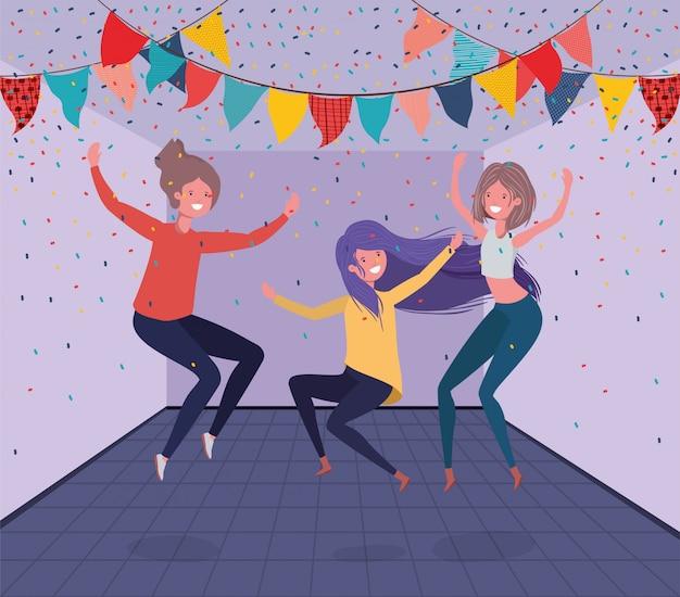 Jeunes filles danser dans la chambre Vecteur gratuit