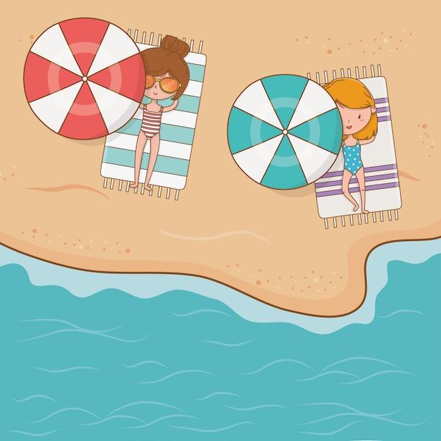 Jeunes filles sur la scène de la plage Vecteur Premium